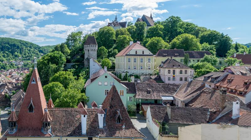 Sighisoara medieval town seen from the Clock Tower, Transylvania, Romania. stock images