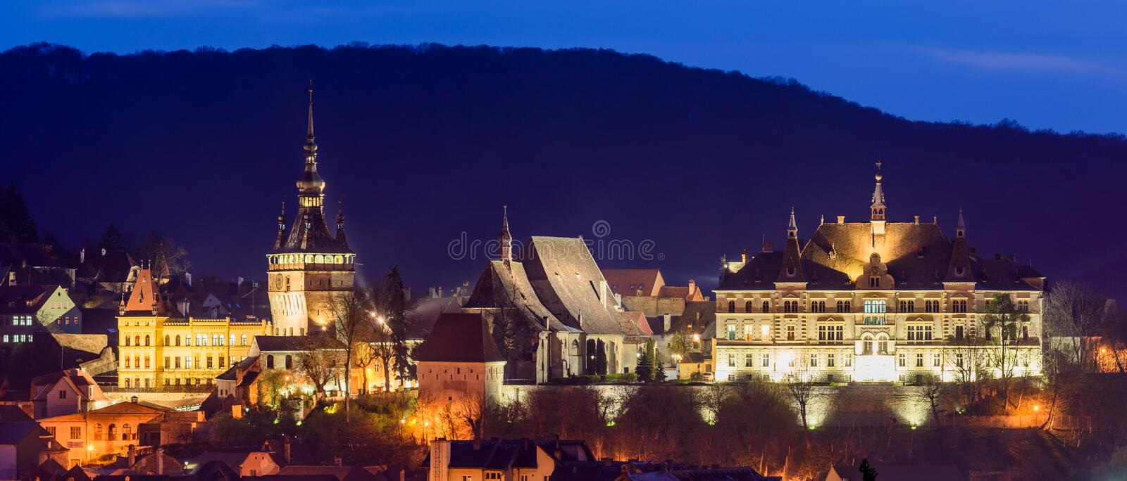 Sighisoara, at night royalty free stock photo