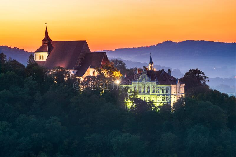 Sighisoara, Romania, autumn sunset in Transylvania royalty free stock photography