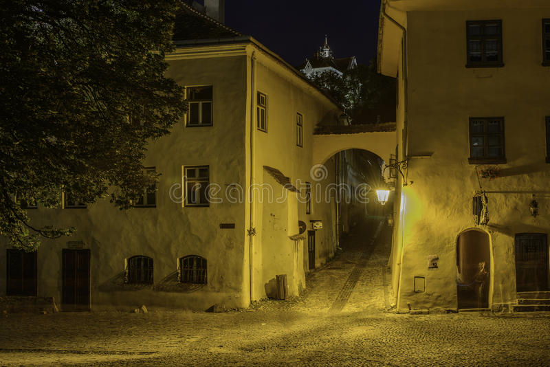 Sighisoara, romania, Europa, da opinião do quadrado do museu fotos de stock