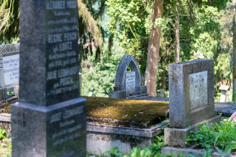 SIGHISOARA, ROMANIA - 1 JULY 2016: Saxon cemetery, located next to the Church on the Hill in Sighisoara, Romania royalty free stock photos