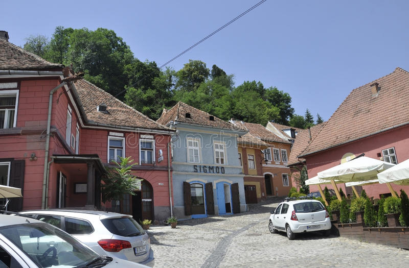 Sighisoara, Romania, june 24th 2016: Historic Houses from the Medieval Town Sighisoara in Romania royalty free stock photo