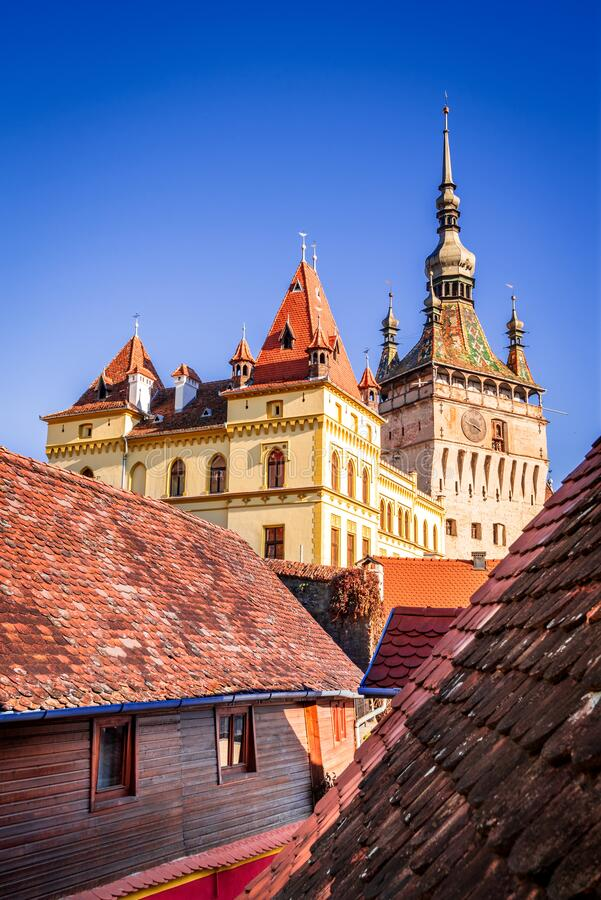 Sighisoara, Romania, Transylvania - The Clock Tower royalty free stock image
