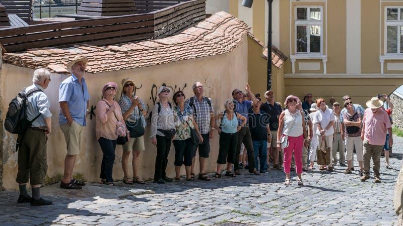 SIGHISOARA RUMÄNIEN - 1 JULI 2016: Turister som beundrar klockatornet i Sighisoara, Rumänien royaltyfri bild