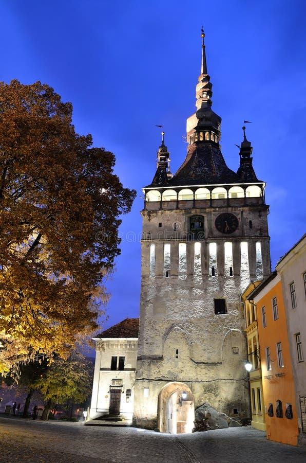 Sighisoara, torre de pulso de disparo, Romania imagens de stock royalty free