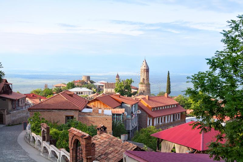 Sighnaghi city of love in Georgia, Kakheti region, red roofs of houses and brick towers of the cathedral and fortress stock photo