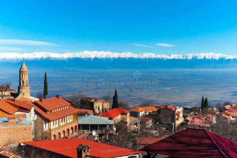 Sighnaghi is een Georgische stad in het meest oostelijke gebied van Georgië ` s van Kakheti stock foto's