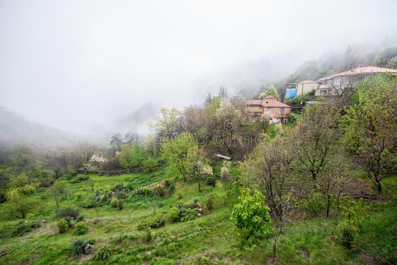 Sighnaghi. Fog Sighnaghi town in Kakheti region of Georgia stock photos