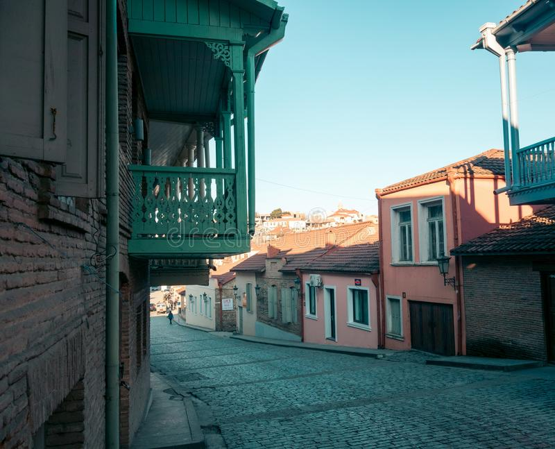 Sighnaghi, Kakheti, Georgia - March 4, 2019:Famous resort Signaghi in Georgia, City of love royalty free stock photo