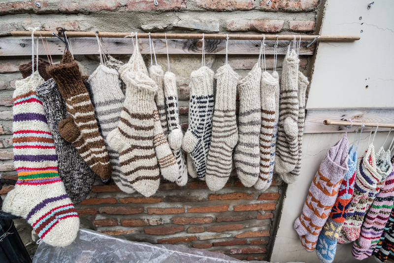 Sighnaghi. Wool socks in Sighnaghi town in Kakheti region of Georgia royalty free stock photography