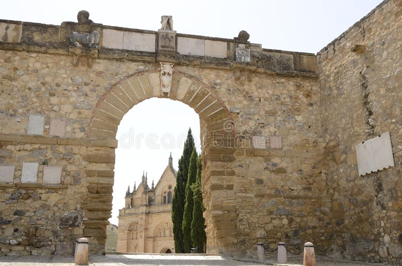 Sight of Church through a city gate royalty free stock photo