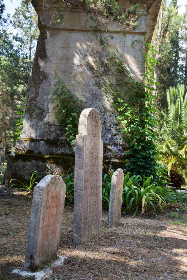 Sight i den Korfu staden: forntida och gammalt b för intressant ställe - arkivfoto
