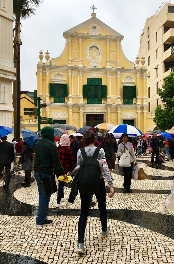 Sight i Macao under regntiden arkivbild