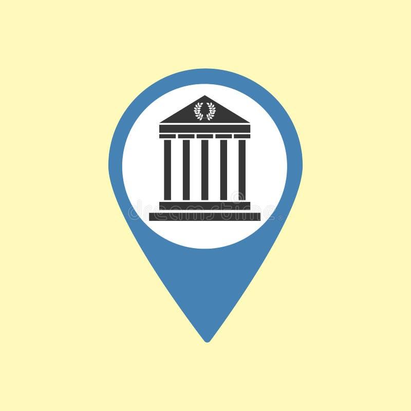 Sight Pin Icon. Greece Athens Parthenon Icon. Vector illustration royalty free illustration