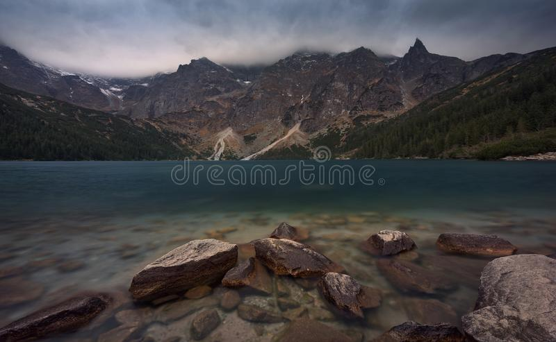 Sight Of Poland And Zakopane, Pearl Of High Tatra Mountains - Alpine Lake Morskie Oko Eye Of The Sea ,Known For Its Emerald Col. Or. Morskie Oko In Polish Tatry royalty free stock image