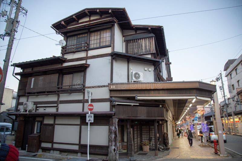 Sight runt om den gamla staden Hida-Takayama arkivfoton