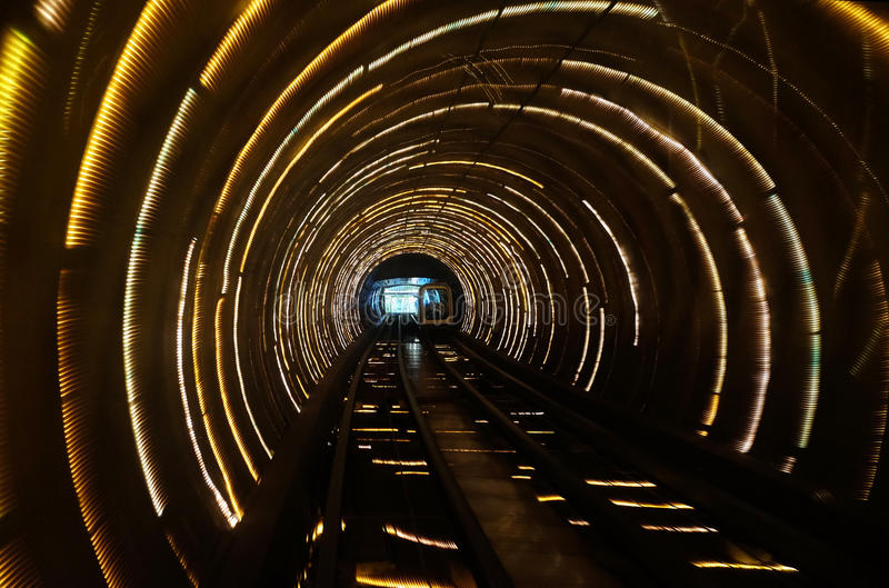 Sight seeing tunnel under Huangpu river in Shanghai royalty free stock photography