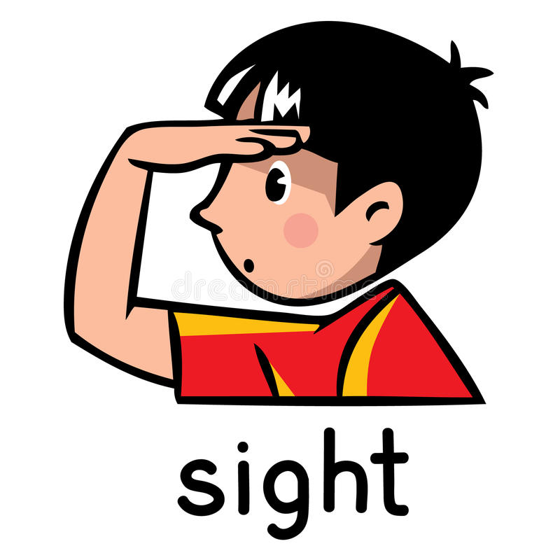 Sight Sense icon. Icons of one of five senses - sight. Children vector illustration of boy in red t-shirt, who put a hand to his forehead stock illustration