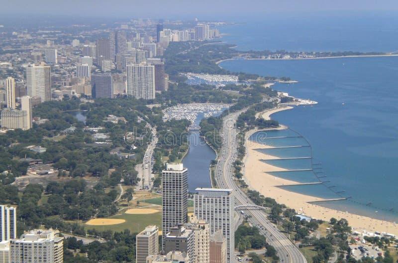 Chicago city lake Michigan`s shore stock photo
