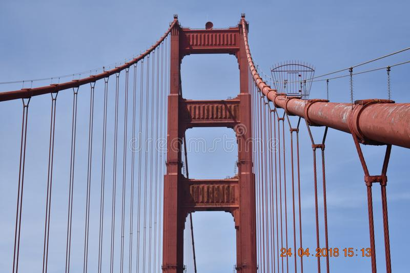 Sight unseen on the Golden Gate Bridge south tower, 1. Way high above the masses that pass over the Golden Gate Bridge night and day, every day, is one royalty free stock photo