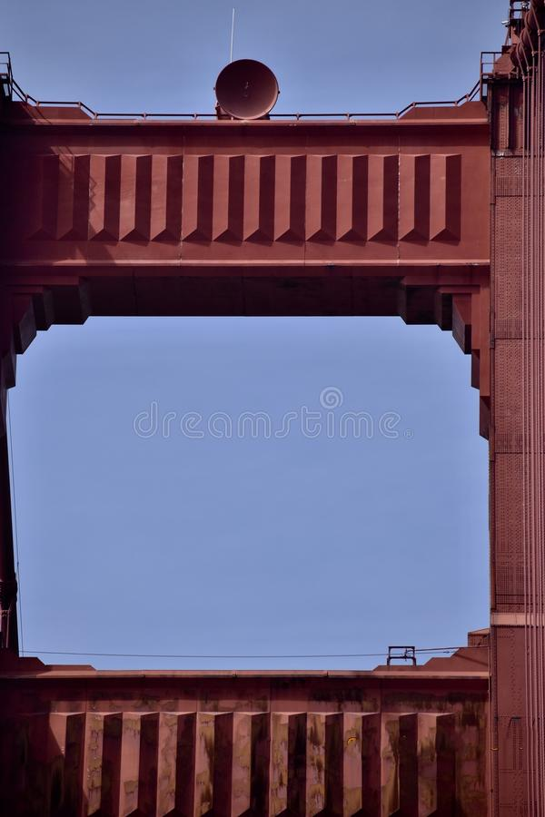 Sight unseen on the Golden Gate Bridge south tower, 2. Way high above the masses that pass over the Golden Gate Bridge night and day, every day, is one royalty free stock images