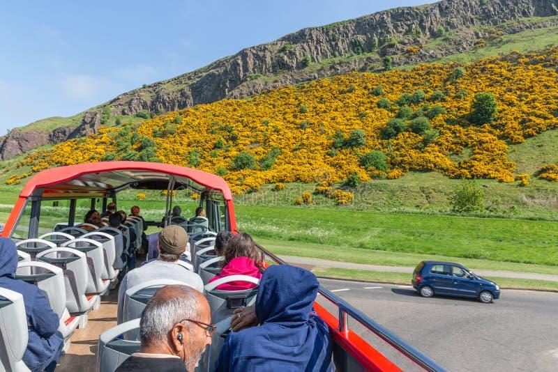SightbussEdinburg med turister nära berget Arthurs Seat arkivfoto