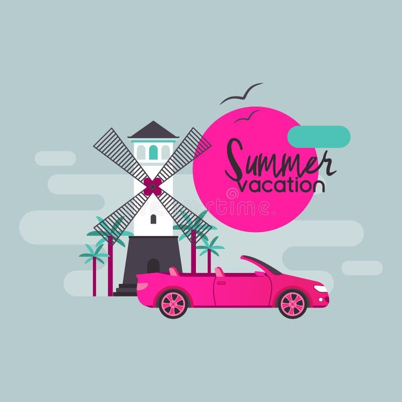 Sighten för resande för semester för sommar för bilresavektor vid ferie för medelautomatiskbakgrund turnerar illustrationbilen stock illustrationer