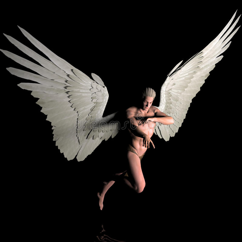 Sighting. A male angel in a pose royalty free illustration