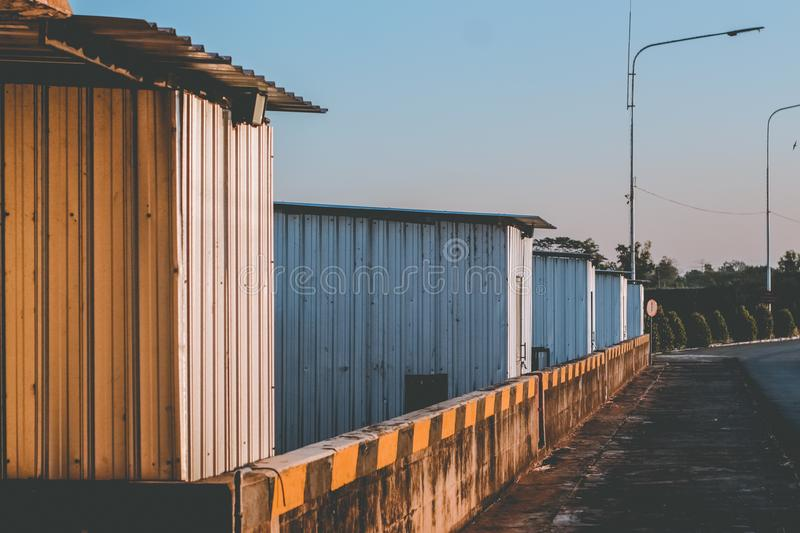 Roadside building. Sightings of buildings on the roadside during the morning stock photos