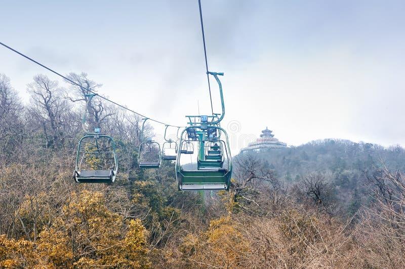 Sightkabelbil från den buddistTianmen templet inom den Tianmenshan medborgaren Forest Park, Zhangjiajie, Hunan, Kina arkivbilder