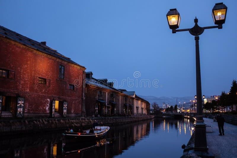 Sightrodd på kanalen av staden Otaru, Japan arkivbild