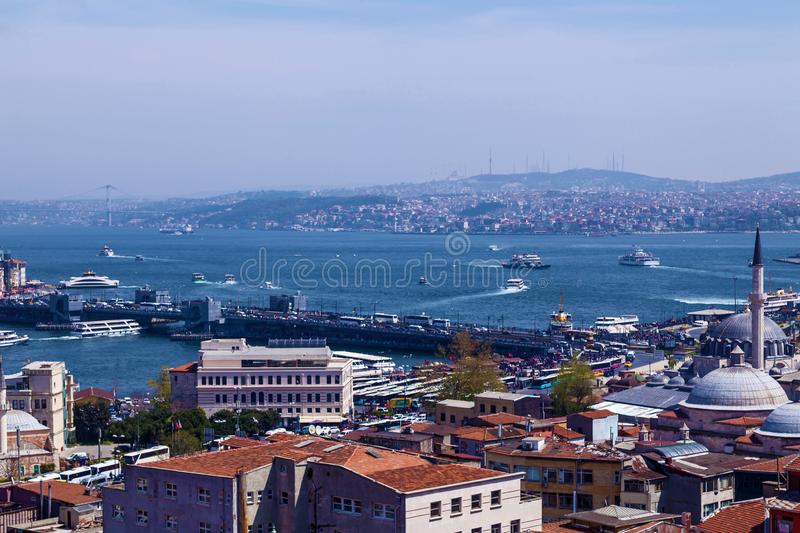 Sights of the city of Istanbul. Architecture and boat trips on ships stock photo