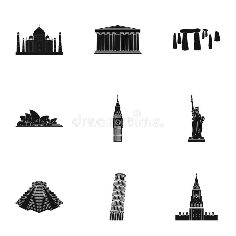 Sights of the countries of the world. Famous buildings and monuments of different countries and cities. Countries icon royalty free illustration