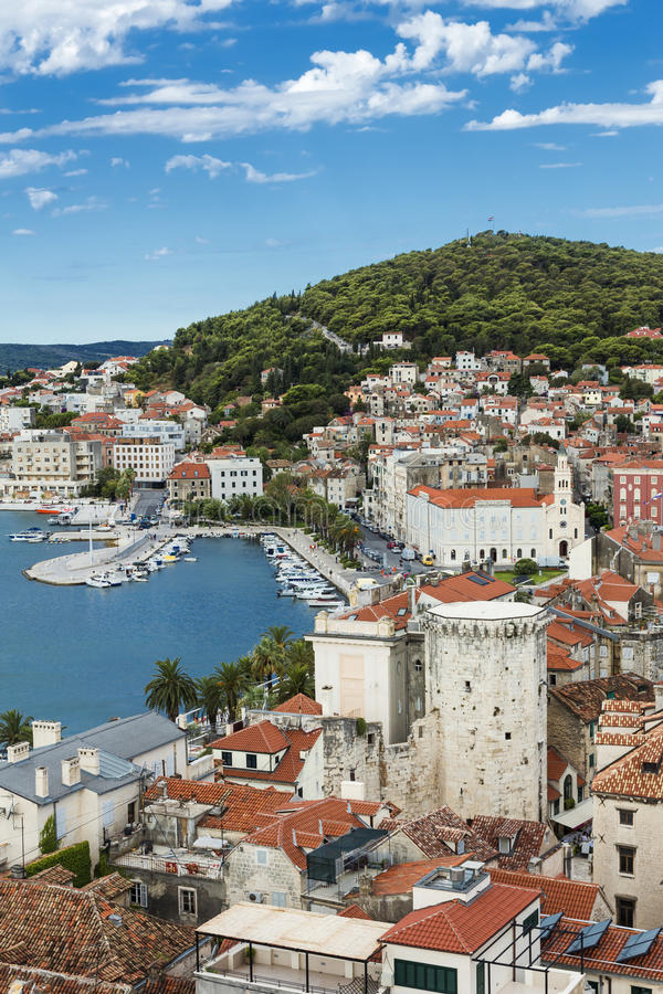 Sights of Croatia. Beautiful city Split. Croatian paradise. View from Diocletian palace stock photo