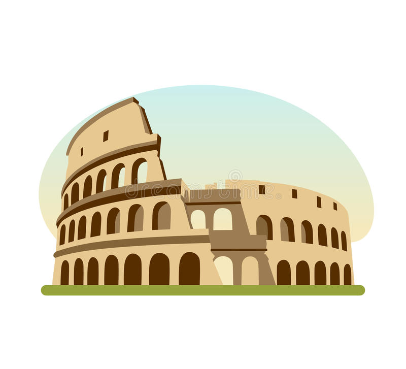 Sights different countries. Monument of Ancient Rome, building is Colosseum. vector illustration