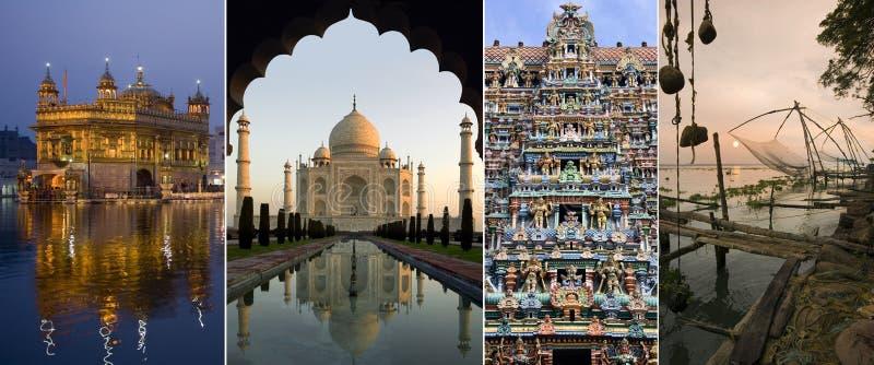 Sights of India. India - The Golden Temple of Amritsar, The Taj Mahal, Minakshi Sundareshvera Hindu Temple complex in Madurai, Chinese Fishing Nets in Cochin stock photography