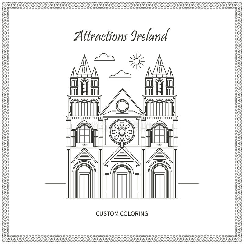Sights Ireland Pictures. Attractions Ireland. City. Architecture. The flat trend line illustration. Ideal for custom coloring book royalty free illustration