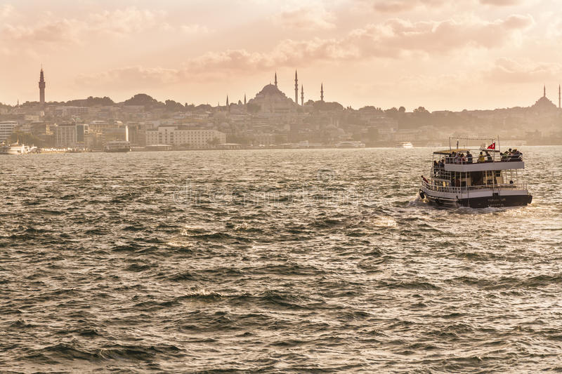 Sights of Istanbul. View of city. Streets, monuments, and Bosfor straits royalty free stock photos