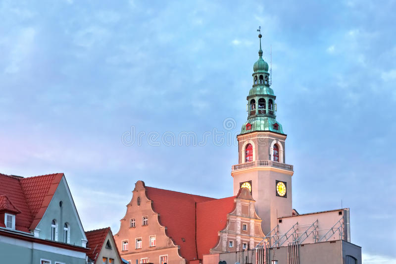Sights of Poland. Neo - Gothic hall town in Olsztyn. Monuments in old town stock photos