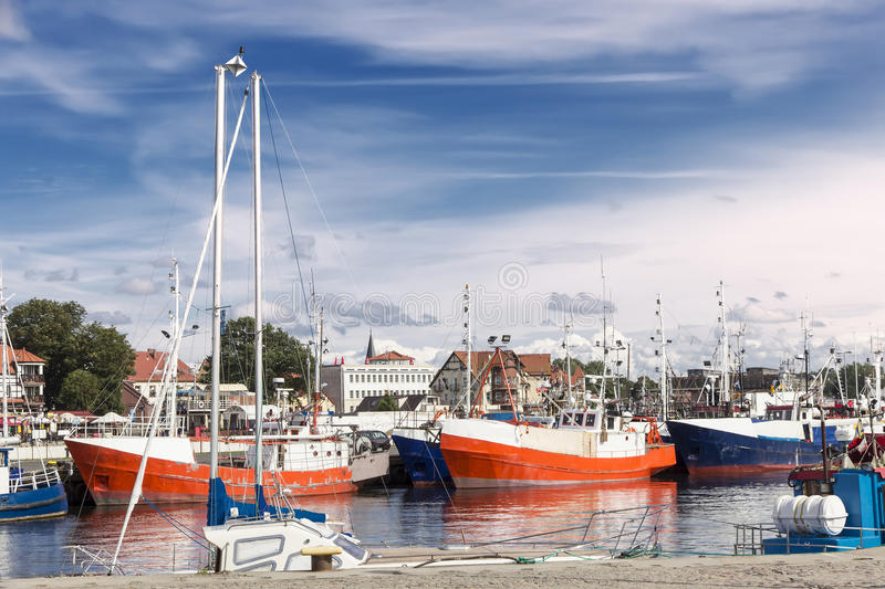 Sights of Poland. Harbor on Polish seaside - Ustka. Touristic town stock photography