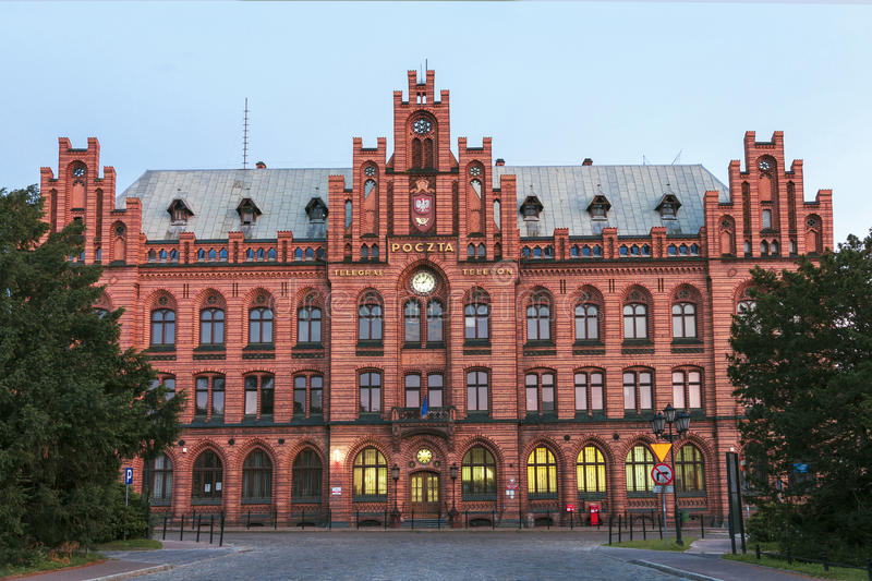 Sights of Poland. Old building of post office. In Koszalin stock photo