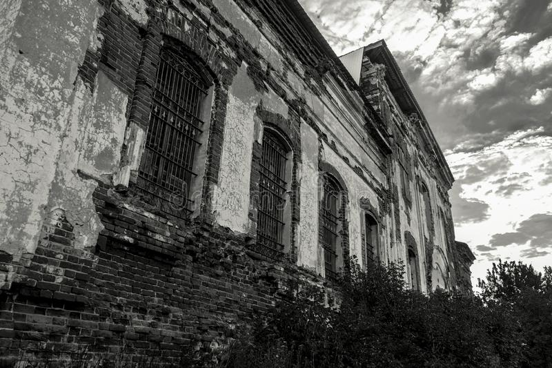 Sights of the Saratov region. Historical building in the Volga region of Russia 19th century 1872 year. Black and white photo of. An old abandoned ruined royalty free stock images
