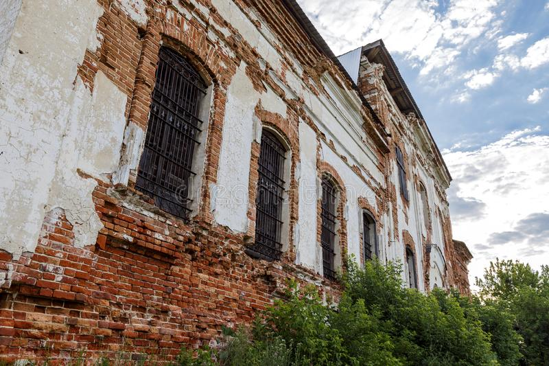 Sights of the Saratov region. Historical building in the Volga region of Russia 19th century 1872 year. A series of photographs of. An old abandoned ruined royalty free stock image