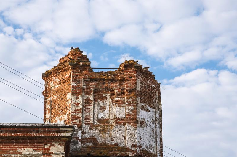 Sights of the Saratov region. Historical building in the Volga region of Russia 19th century 1872 year. A series of photographs of. An old abandoned ruined royalty free stock photo