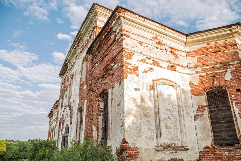 Sights of the Saratov region. Historical building in the Volga region of Russia 19th century 1872 year. A series of photographs of. An old abandoned ruined stock image