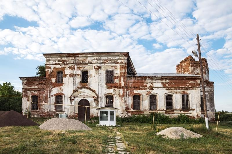 Sights of the Saratov region. Historical building in the Volga region of Russia 19th century 1872 year. A series of photographs of. An old abandoned ruined stock images