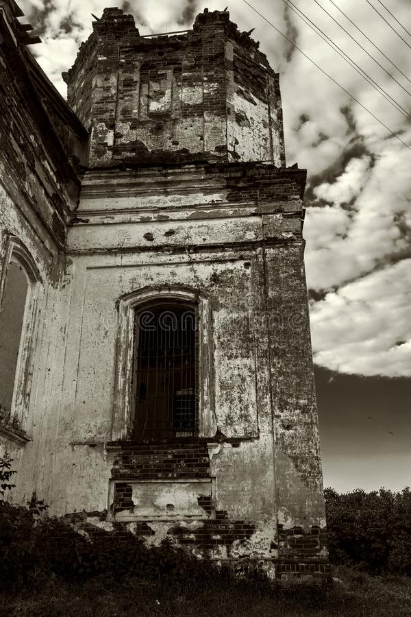 Sights of the Saratov region. Historical building in the Volga region of Russia 19th century 1872 year. Black and white photo of. An old abandoned ruined stock image