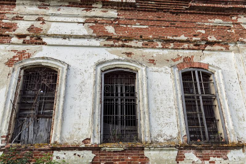 Sights of the Saratov region. Historical building in the Volga region of Russia 19th century 1872 year. A series of photographs of. An old abandoned ruined royalty free stock images