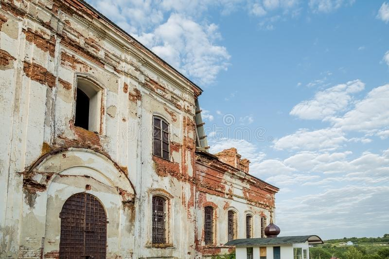 Sights of the Saratov region. Historical building in the Volga region of Russia 19th century 1872 year. A series of photographs of. An old abandoned ruined stock photos