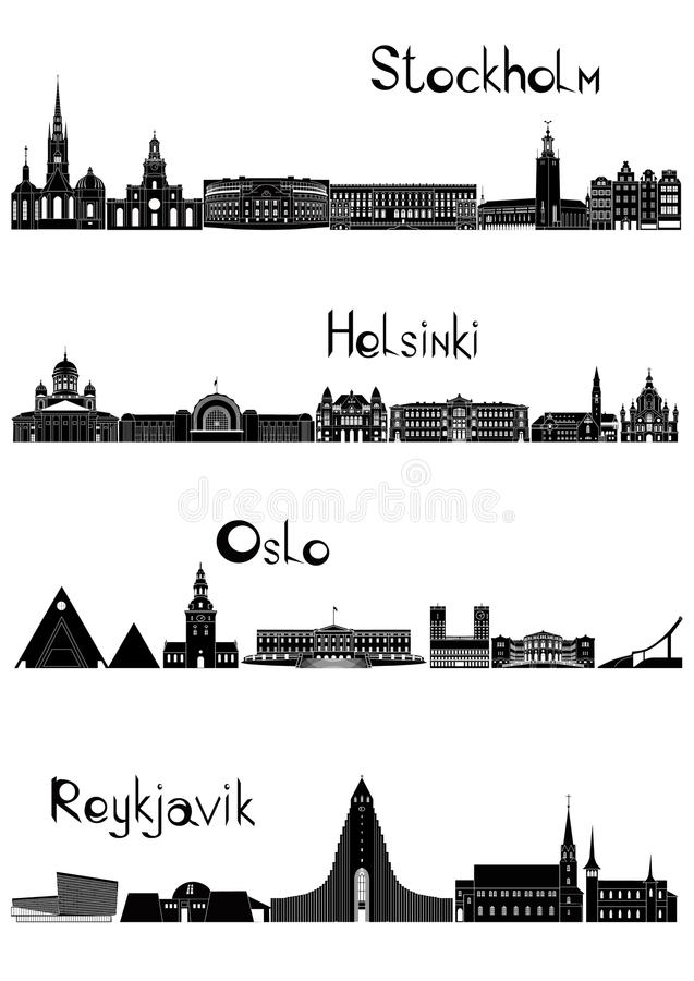 Sights of Stockholm, Oslo, Reykjavik and Helsinki, b-w vector royalty free stock image